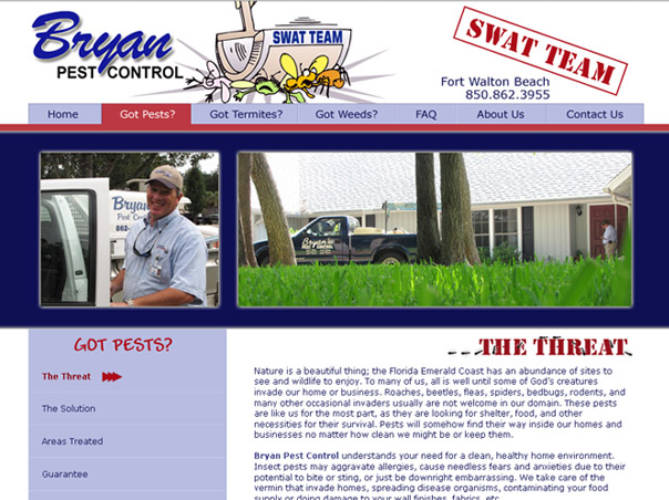 Screenshot of the Bryan Pest Control website